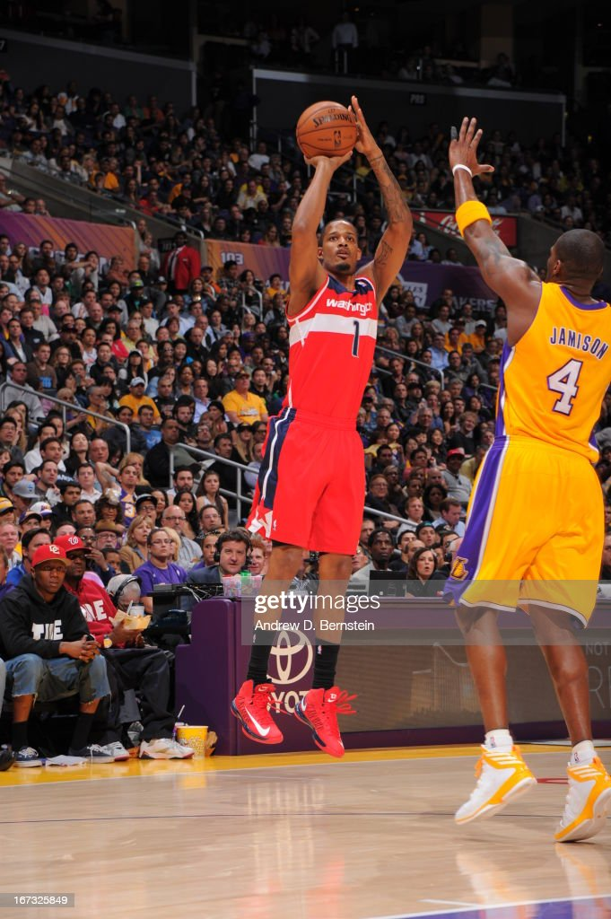 <a gi-track='captionPersonalityLinkClicked' href=/galleries/search?phrase=Trevor+Ariza&family=editorial&specificpeople=201708 ng-click='$event.stopPropagation()'>Trevor Ariza</a> #1 of the Washington Wizards takes a shot against the Los Angeles Lakers at Staples Center on March 22, 2013 in Los Angeles, California.