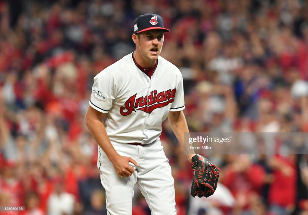 Trevor Bauer #47 of the Cleveland Indians celebrates after retiring the side in the sixth inning on a strike out against the New York Yankees during game one of the American League Division Series at Progressive Field on October 5, 2017 in Cleveland, Ohio.