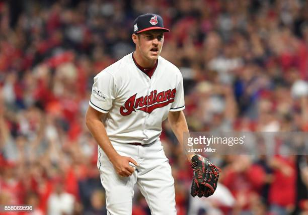 Trevor Bauer of the Cleveland Indians celebrates after retiring the side in the sixth inning on a strike out against the New York Yankees during game...