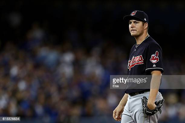 Trevor Bauer of the Cleveland Indians looks on in the first inning against the Toronto Blue Jays during game three of the American League...