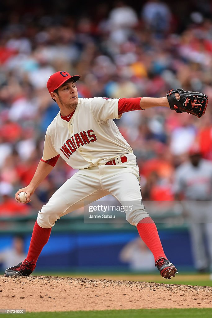 <a gi-track='captionPersonalityLinkClicked' href=/galleries/search?phrase=Trevor+Bauer+-+Baseball+Player&family=editorial&specificpeople=11364936 ng-click='$event.stopPropagation()'>Trevor Bauer</a> #47 of the Cleveland Indians pitches against the Cincinnati Reds at Progressive Field on May 24, 2015 in Cleveland, Ohio.