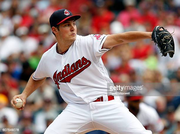 Trevor Bauer of the Cleveland Indians pitches against the Detroit Tigers in the first inning at Progressive Field on September 18 2016 in Cleveland...
