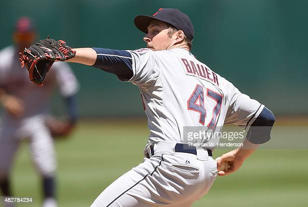 Trevor Bauer of the Cleveland Indians pitches against the Oakland Athletics in the bottom of the first inning at Oco Coliseum on August 2 2015 in...