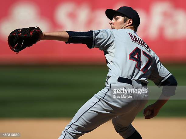 Trevor Bauer of the Cleveland Indians pitches against the Oakland Athletics during the game at Oco Coliseum on Sunday August 2 2015 in Oakland...