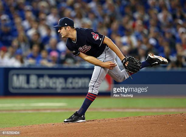 Trevor Bauer of the Cleveland Indians pitches in the bottom of the first inning of ALCS Game 3 against the Toronto Blue Jays at the Rogers Centre on...