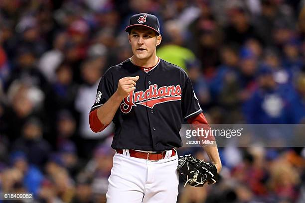 Trevor Bauer of the Cleveland Indians reacts after allowing an RBI double to Anthony Rizzo of the Chicago Cubs during the first inning in Game Two of...