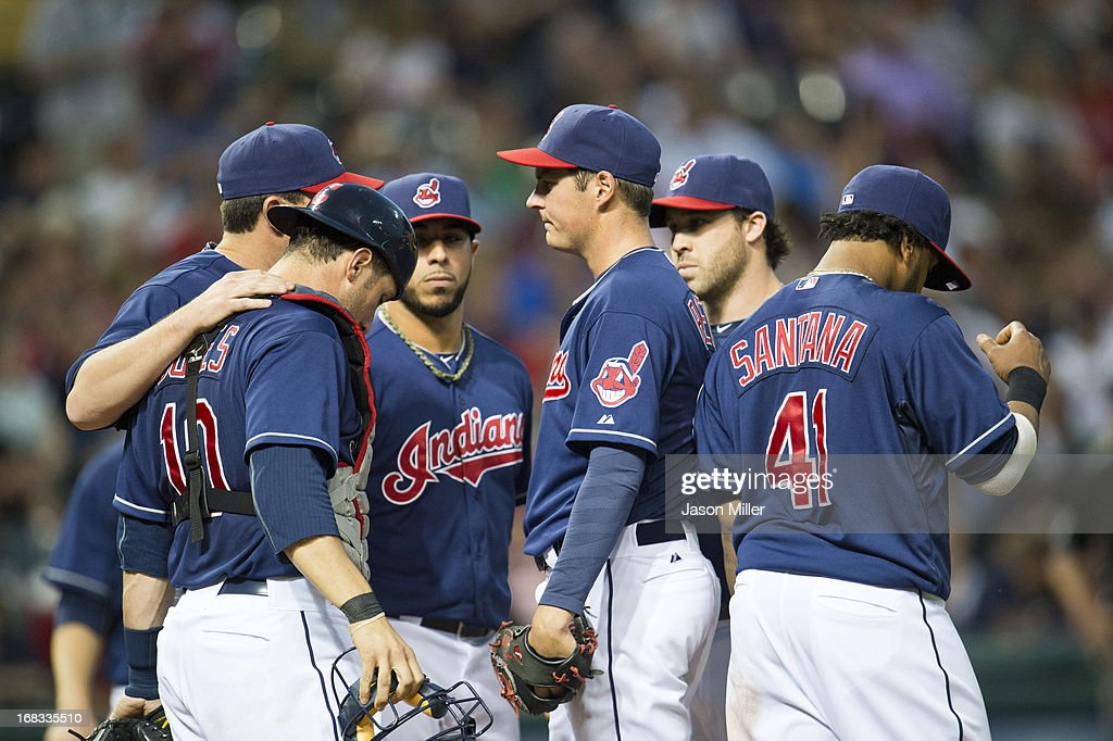 Trevor Bauer #47 of the Cleveland Indians talks with the team during the game against the Philadelphia Phillies at Progressive Field on May 1, 2013 in Cleveland, Ohio.