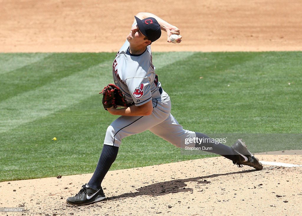 Trevor Bauer #47 of the Cleveland Indians throws a pitch against the Los Angeles Dodgers at Dodger Stadium on July 2, 2014 in Los Angeles, California.