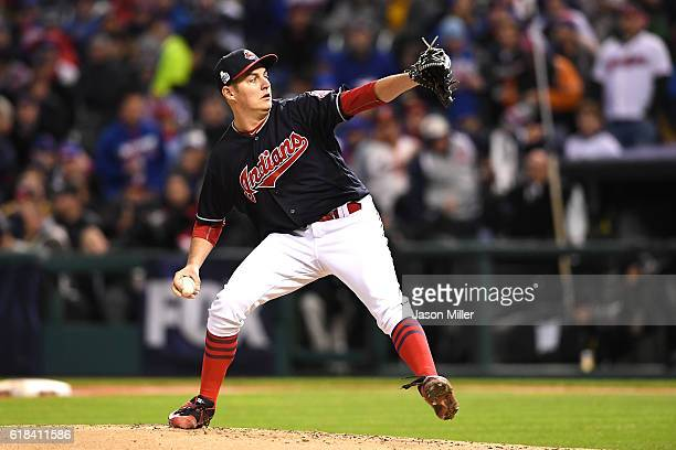Trevor Bauer of the Cleveland Indians throws a pitch during the second inning against the Chicago Cubs in Game Two of the 2016 World Series at...