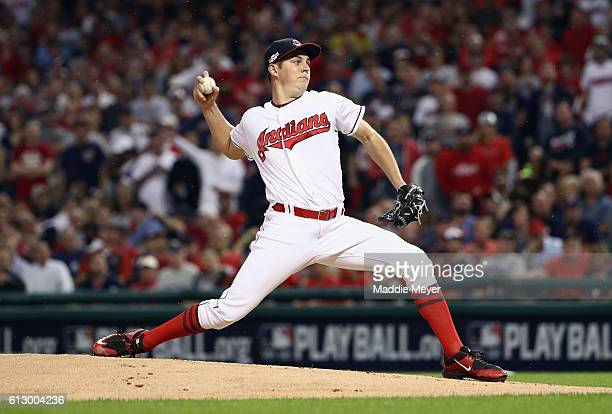Trevor Bauer of the Cleveland Indians throws a pitch in the first inning against the Boston Red Sox during game one of the American League Divison...