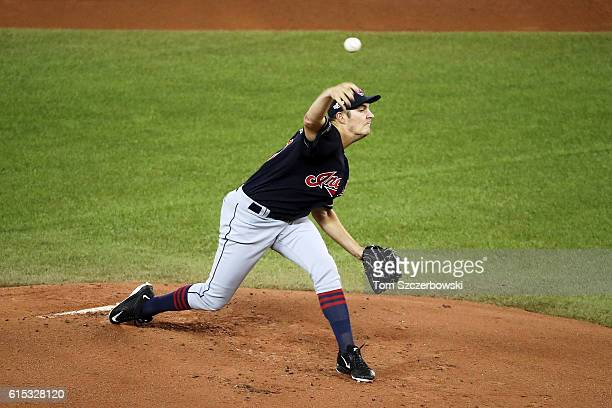 Trevor Bauer of the Cleveland Indians throws a pitch in the first inning against the Toronto Blue Jays during game three of the American League...