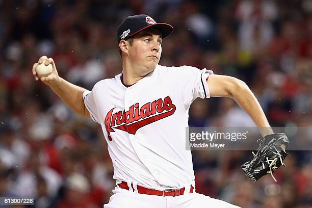 Trevor Bauer of the Cleveland Indians throws a pitch in the second inning against the Boston Red Sox during game one of the American League Divison...
