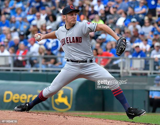 Trevor Bauer of the Cleveland Indians throws in the first inning against the Kansas City Royals at Kauffman Stadium on October 1 2016 in Kansas City...