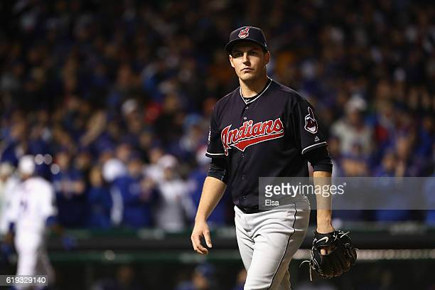 Trevor Bauer of the Cleveland Indians walks off the field after the fourth inning against the Chicago Cubs in Game Five of the 2016 World Series at...