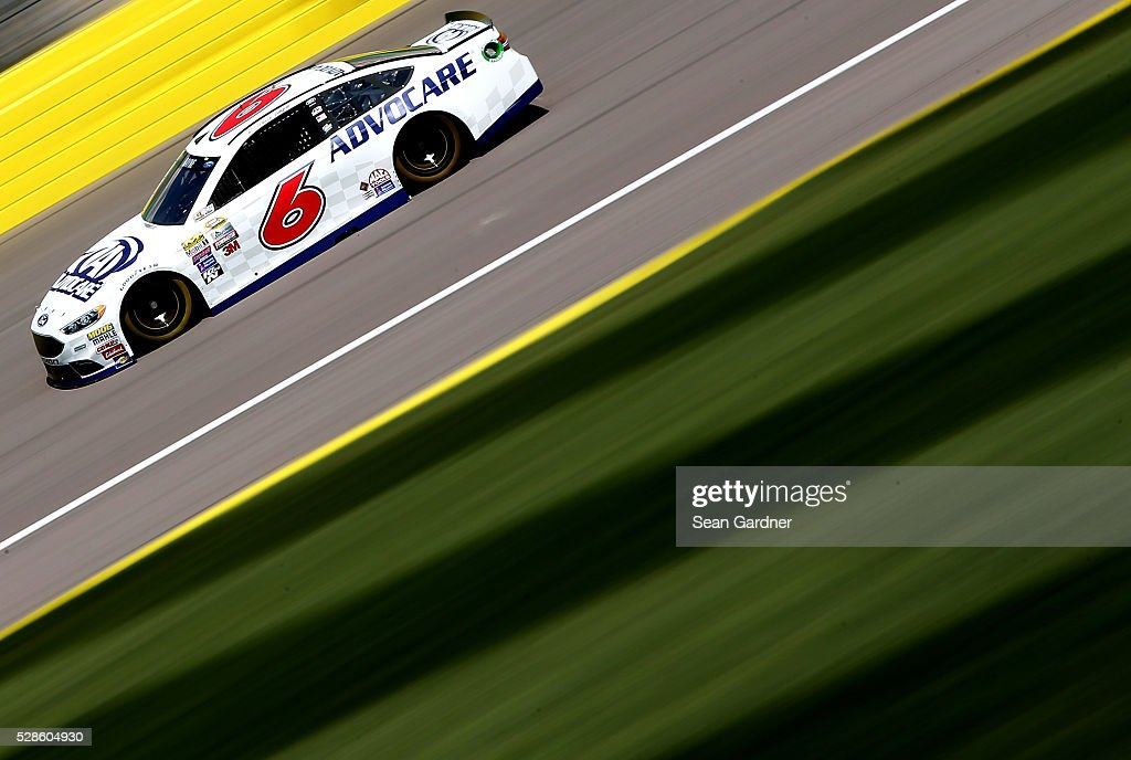 Trevor Bayne, driver of the #6 AdvoCare Ford, drives during practice for the NASCAR Sprint Cup Series Go Bowling 400 at Kansas Speedway on May 6, 2016 in Kansas City, Kansas.