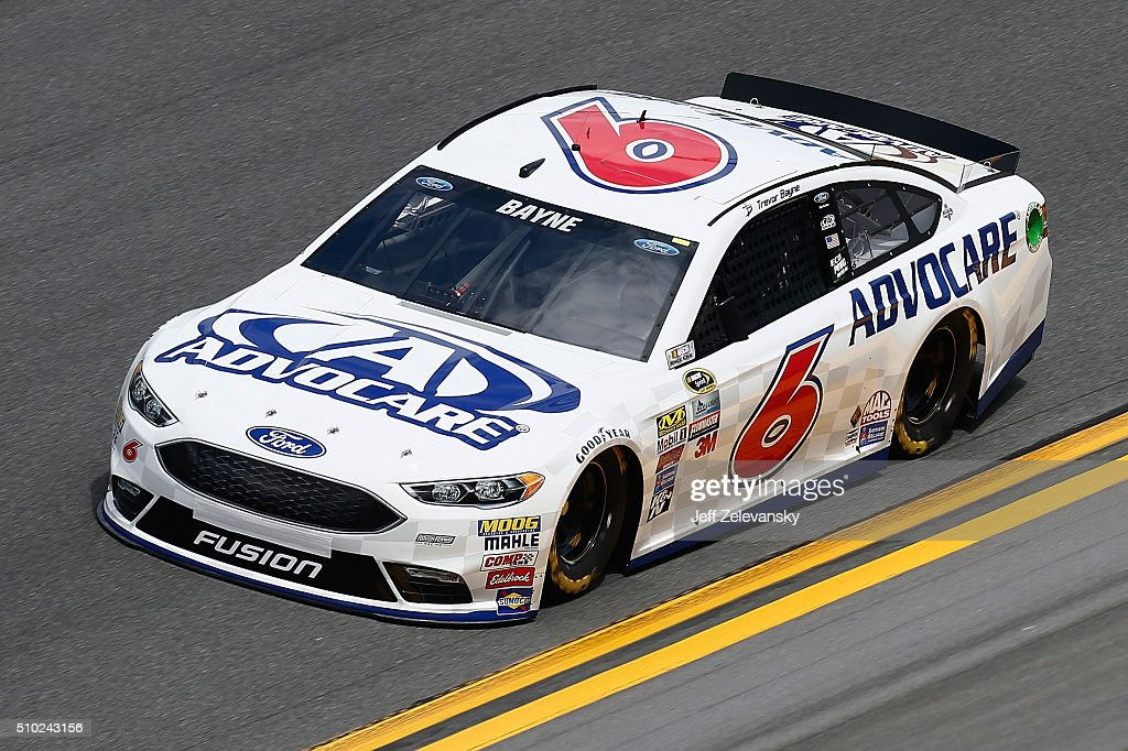 <a gi-track='captionPersonalityLinkClicked' href=/galleries/search?phrase=Trevor+Bayne&family=editorial&specificpeople=5533943 ng-click='$event.stopPropagation()'>Trevor Bayne</a>, driver of the #6 AdvoCare Ford, drives during qualifying for the NASCAR Sprint Cup Series Daytona 500 at Daytona International Speedway on February 14, 2016 in Daytona Beach, Florida.