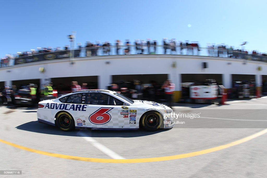<a gi-track='captionPersonalityLinkClicked' href=/galleries/search?phrase=Trevor+Bayne&family=editorial&specificpeople=5533943 ng-click='$event.stopPropagation()'>Trevor Bayne</a>, driver of the #6 AdvoCare Ford, drives through the garage area during practice for the NASCAR Sprint Cup Series Daytona 500 at Daytona International Speedway on February 13, 2016 in Daytona Beach, Florida.