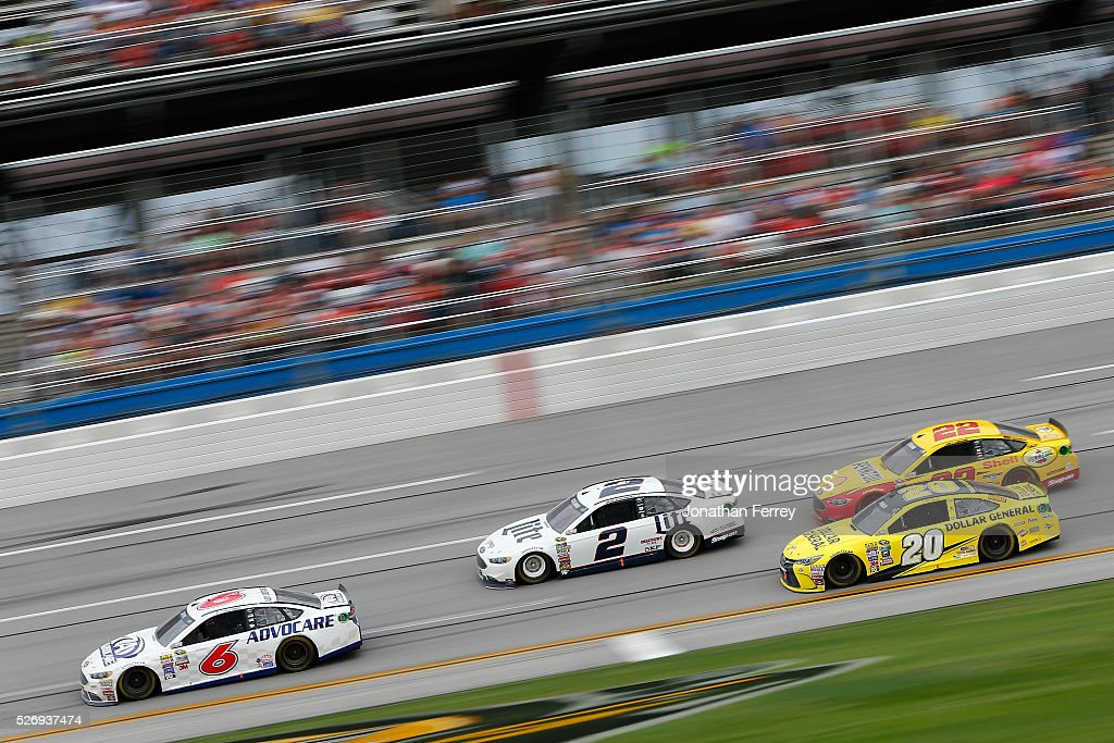 Trevor Bayne, driver of the #6 AdvoCare Ford, leads a pack of cars during the NASCAR Sprint Cup Series GEICO 500 at Talladega Superspeedway on May 1, 2016 in Talladega, Alabama.