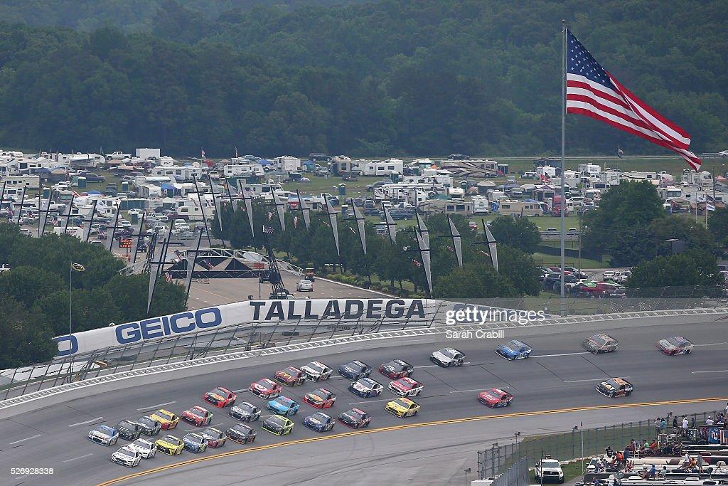 Trevor Bayne, driver of the #6 AdvoCare Ford, leads the field during the NASCAR Sprint Cup Series GEICO 500 at Talladega Superspeedway on May 1, 2016 in Talladega, Alabama.