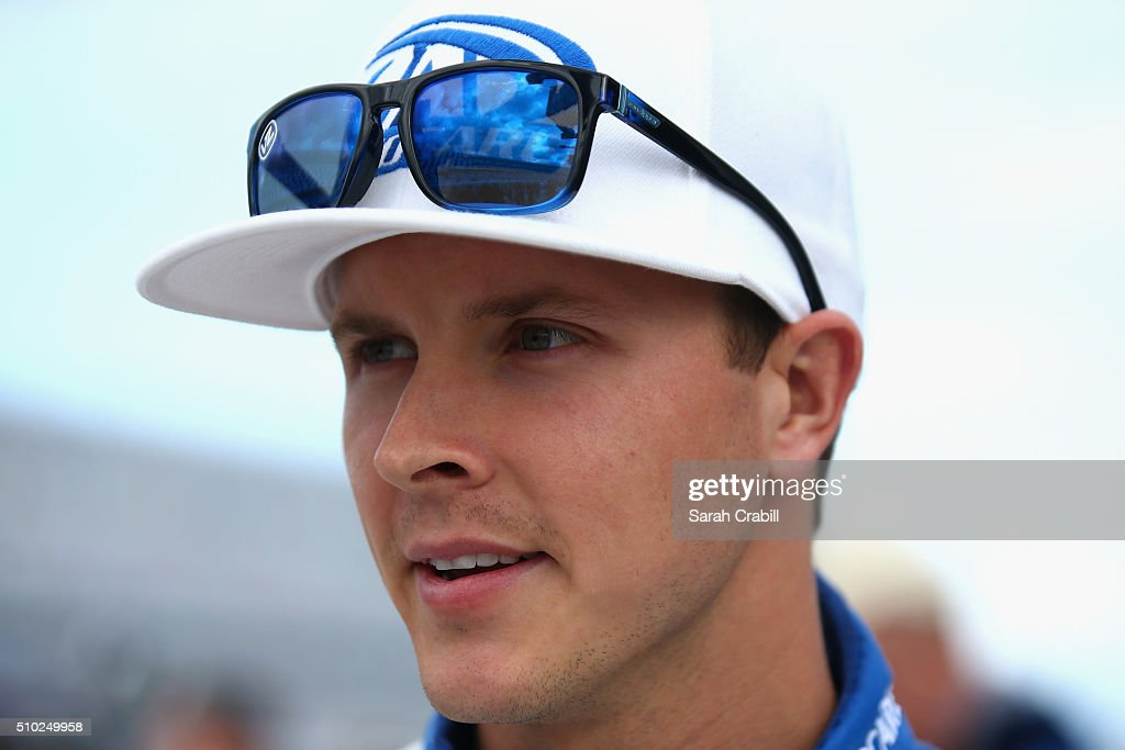 Trevor Bayne, driver of the #6 AdvoCare Ford, looks on during qualifying for the NASCAR Sprint Cup Series Daytona 500 at Daytona International Speedway on February 14, 2016 in Daytona Beach, Florida.