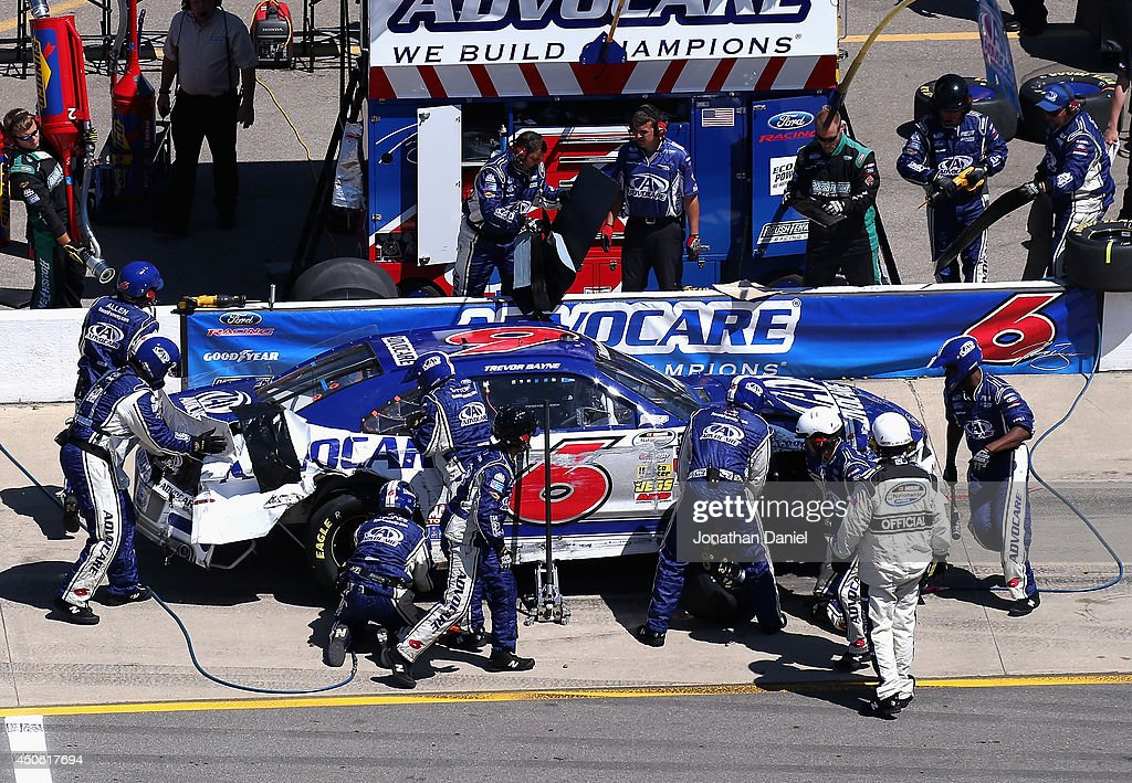 Trevor Bayne, driver of the #6 AdvoCare Ford, pits during the NASCAR Nationwide Series Ollie's Bargain Outlet 250 at Michigan International Speedway on June 14, 2014 in Brooklyn, Michigan.