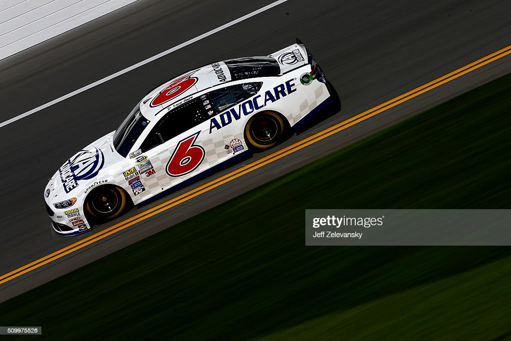 Trevor Bayne, driver of the #6 AdvoCare Ford, practices for the NASCAR Sprint Cup Series Daytona 500 at Daytona International Speedway on February 13, 2016 in Daytona Beach, Florida.