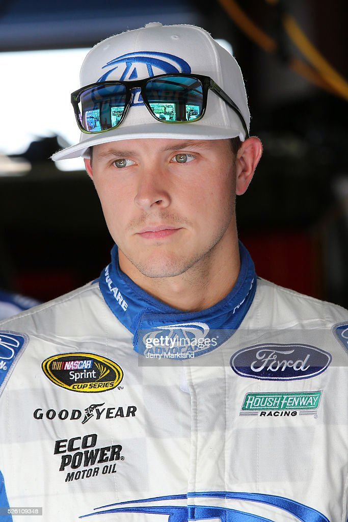 <a gi-track='captionPersonalityLinkClicked' href=/galleries/search?phrase=Trevor+Bayne&family=editorial&specificpeople=5533943 ng-click='$event.stopPropagation()'>Trevor Bayne</a>, driver of the #6 AdvoCare Ford, stands in the garage area during practice for the NASCAR Sprint Cup Series GEICO 500 at Talladega Superspeedway on April 29, 2016 in Talladega, Alabama.