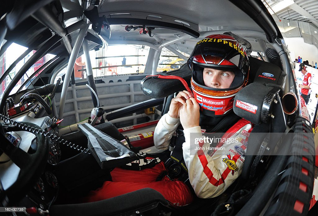 Trevor Bayne, driver of the #21 Motorcraft/Quick Lane Tire & Auto Center Ford, in his car during practice for the NASCAR Sprint Cup Series Daytona 500 at Daytona International Speedway on February 23, 2013 in Daytona Beach, Florida.