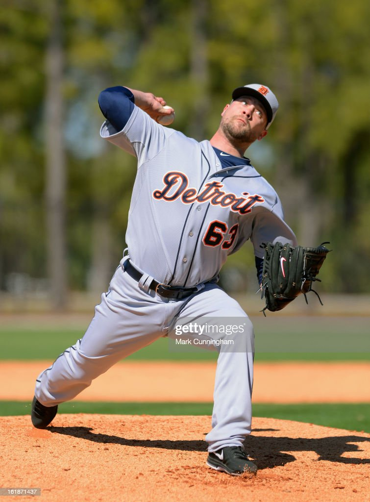 Trevor Bell #63 of the Detroit Tigers pitches during Spring Training workouts at the TigerTown Facility on February 17, 2013 in Lakeland, Florida.