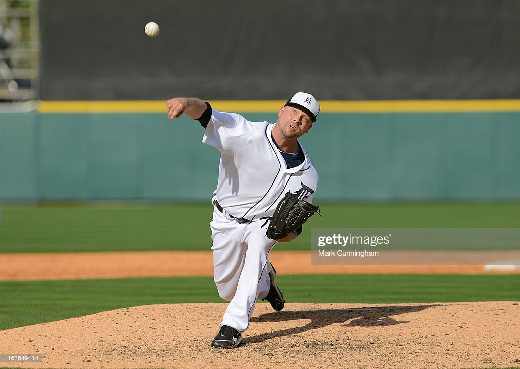 Trevor Bell of the Detroit Tigers pitches during the spring training game against the Toronto Blue Jays at Joker Marchant Stadium on February 23 2013...