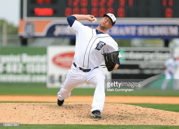 Trevor Bell of the Detroit Tigers pitches during the spring training game against the New York Mets at Joker Marchant Stadium on March 11 2013 in...