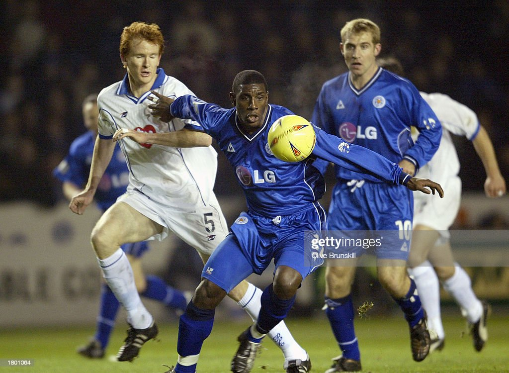 Trevor Benjamin of Leicester holds off Hayden Foxe of Portsmouth during the Nationwide League Division One match between Leicester City and Portsmouth at Walkers Stadium, Leicester, England on February 17, 2003.