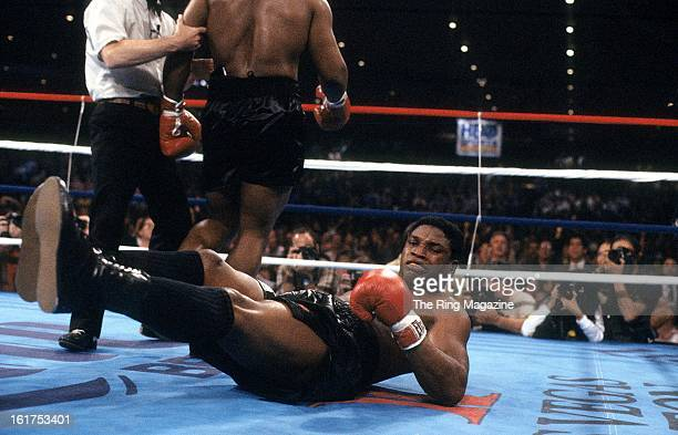 Trevor Berbick is knocked down by Mike Tyson during the fight at Hilton Hotel in Las Vegas Nevada Mike Tyson won the WBC heavyweight title by a TKO 2