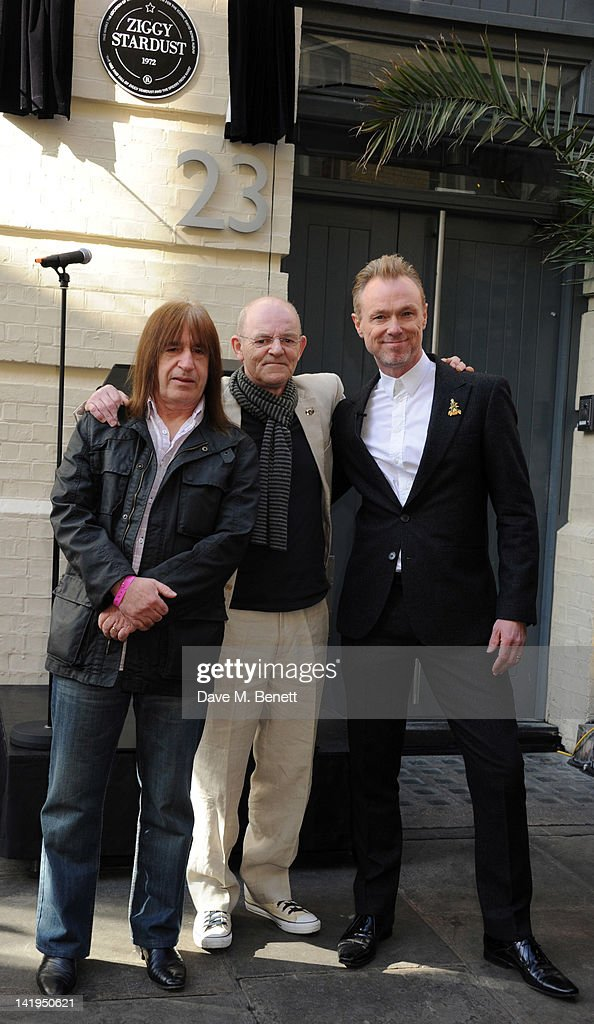 Trevor Bolder, Woody Woodmansey and <a gi-track='captionPersonalityLinkClicked' href=/galleries/search?phrase=Gary+Kemp&family=editorial&specificpeople=213076 ng-click='$event.stopPropagation()'>Gary Kemp</a> attend the unveiling of a plaque dedicated to David Bowie's famous character Ziggy Stardust on March 27, 201 in London, England. The plaque has been installed on Heddon Street, London, which was the location of the album cover photograph for 'The Rise and Fall of Ziggy Stardust and the Spiders from Mars'.