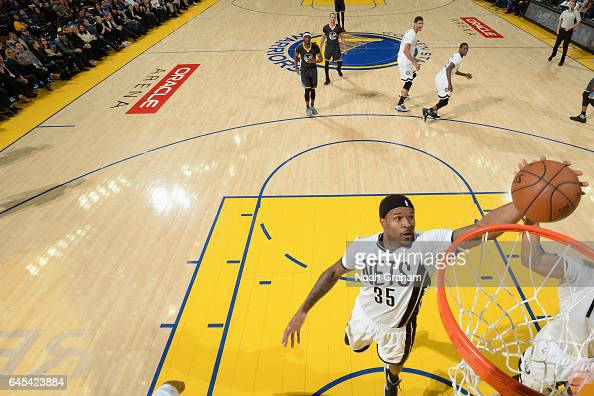 Trevor Booker of the Brooklyn Nets goes to the basket against the Golden State Warriors on February 25 2017 at ORACLE Arena in Oakland California...