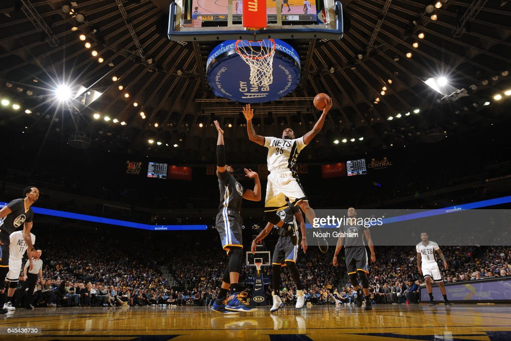 Trevor Booker #35 of the Brooklyn Nets goes to the basket against the Golden State Warriors on February 25, 2017 at ORACLE Arena in Oakland, California.