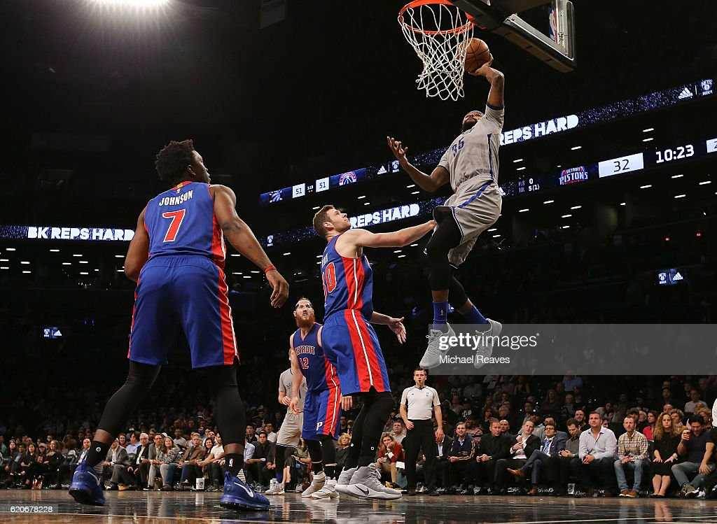 Trevor Booker #35 of the Brooklyn Nets puts in a layup against the Detroit Pistons during the first half at Barclays Center on November 2, 2016 in New York City.