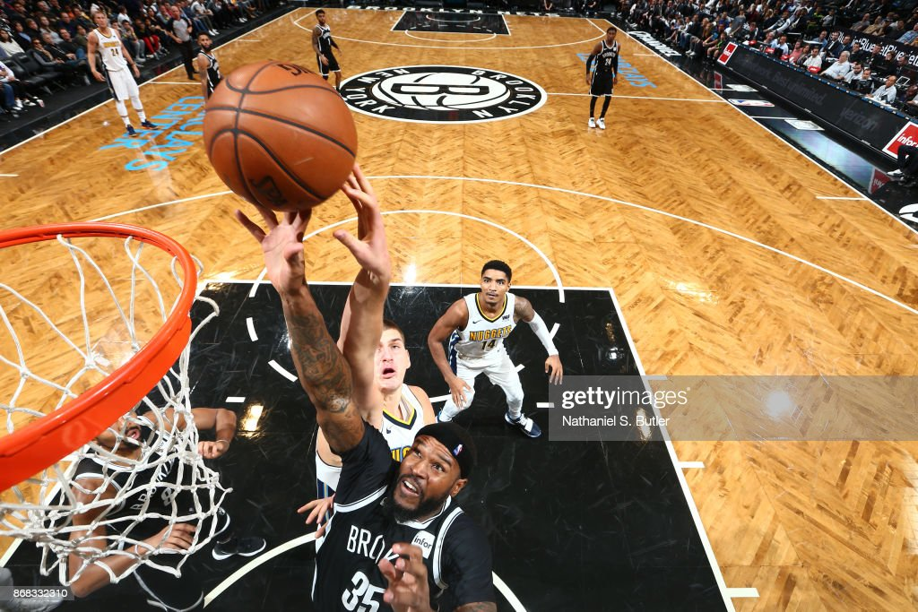 Trevor Booker #35 of the Brooklyn Nets shoots the ball against the Denver Nuggets on October 29, 2017 at Barclays Center in Brooklyn, New York.