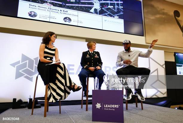 Trevor Booker of the Brooklyn Nets speaks as part of a panel with Lt Col Darcy Schnak and moderator Debra Harris at the Leaders Sport Performance...