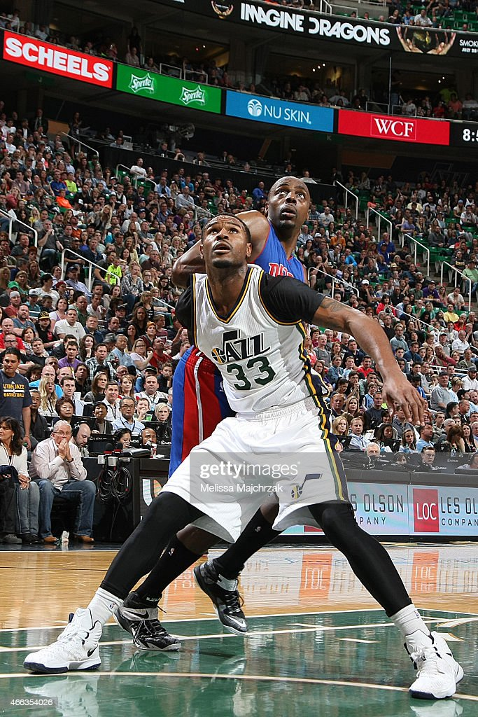 Trevor Booker of the Utah Jazz boxes out against Anthony Tolliver of the Detroit Pistons on March 14 2015 at EnergySolutions Arena in Salt Lake City...
