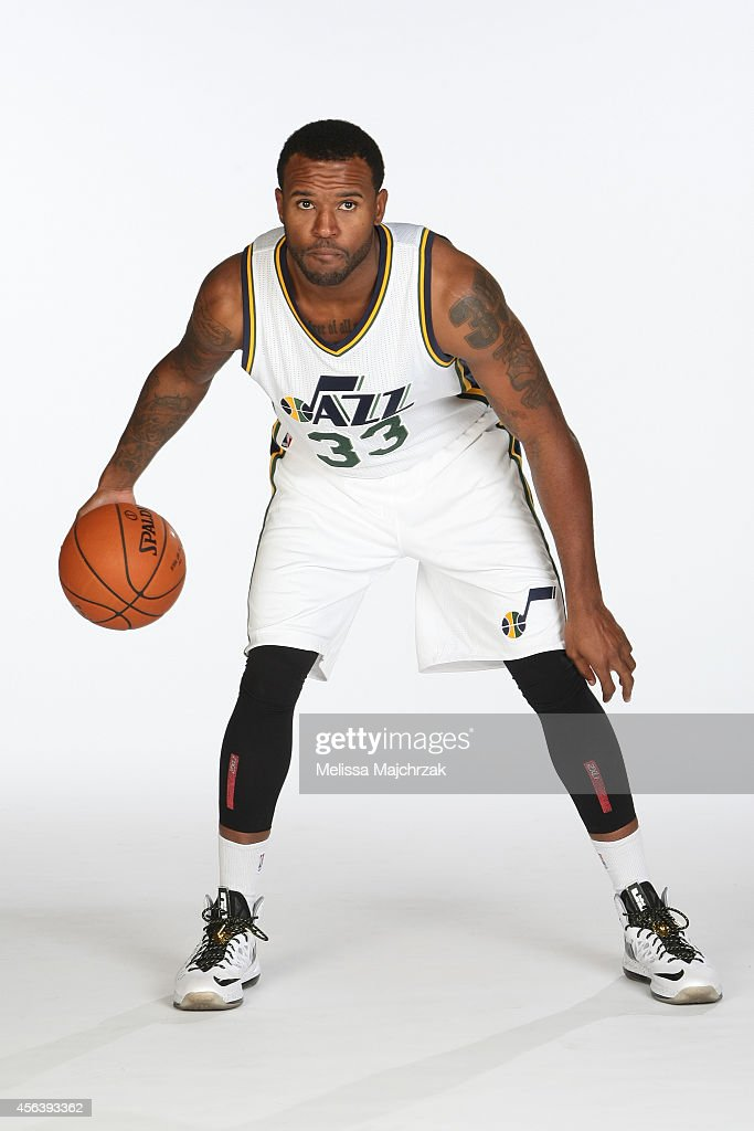 Trevor Booker of the Utah Jazz dribbles the ball for a photo during the 2014 NBA Jazz Media Day at Zions Basketball Center on September 29 2014 in...