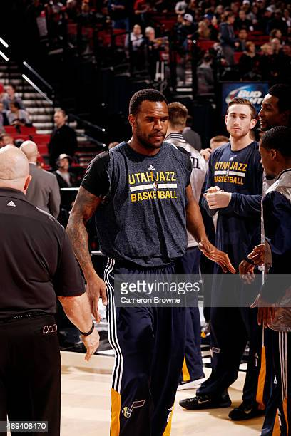 Trevor Booker of the Utah Jazz gets introduced before a game against the Portland Trail Blazers on April 11 2015 at the Moda Center Arena in Portland...