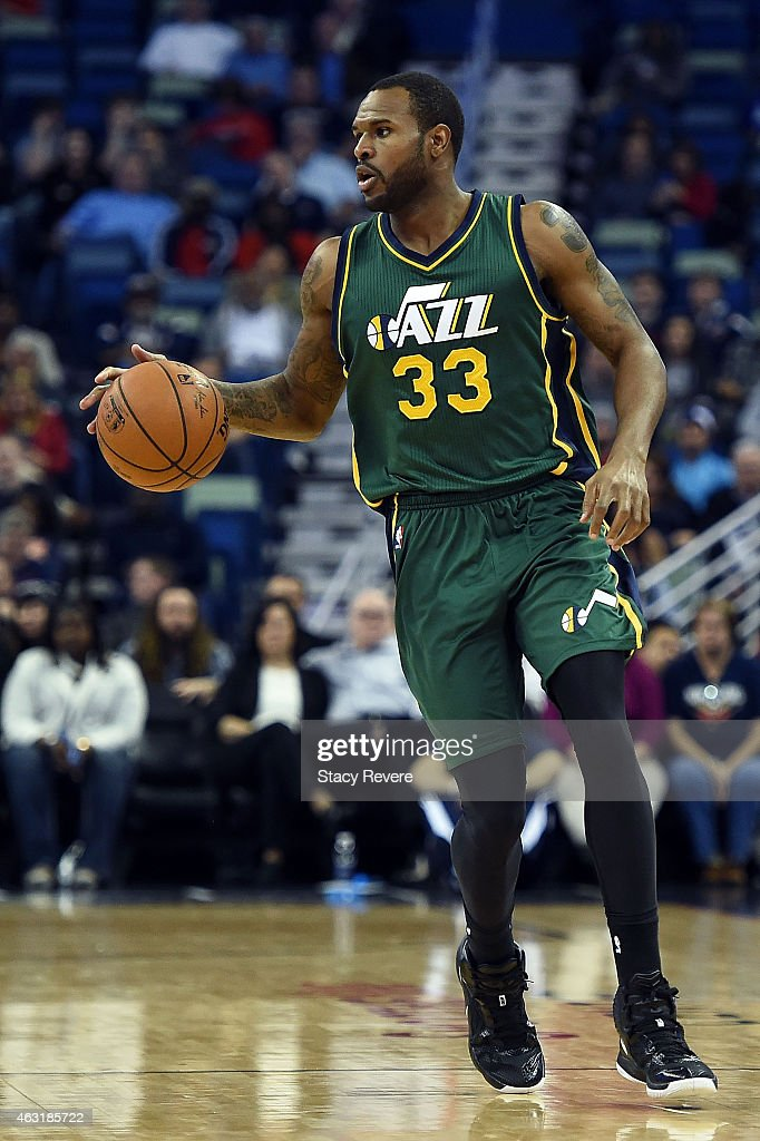 Trevor Booker of the Utah Jazz handles the ball during the second half of a game against the New Orleans Pelicans at the Smoothie King Center on...