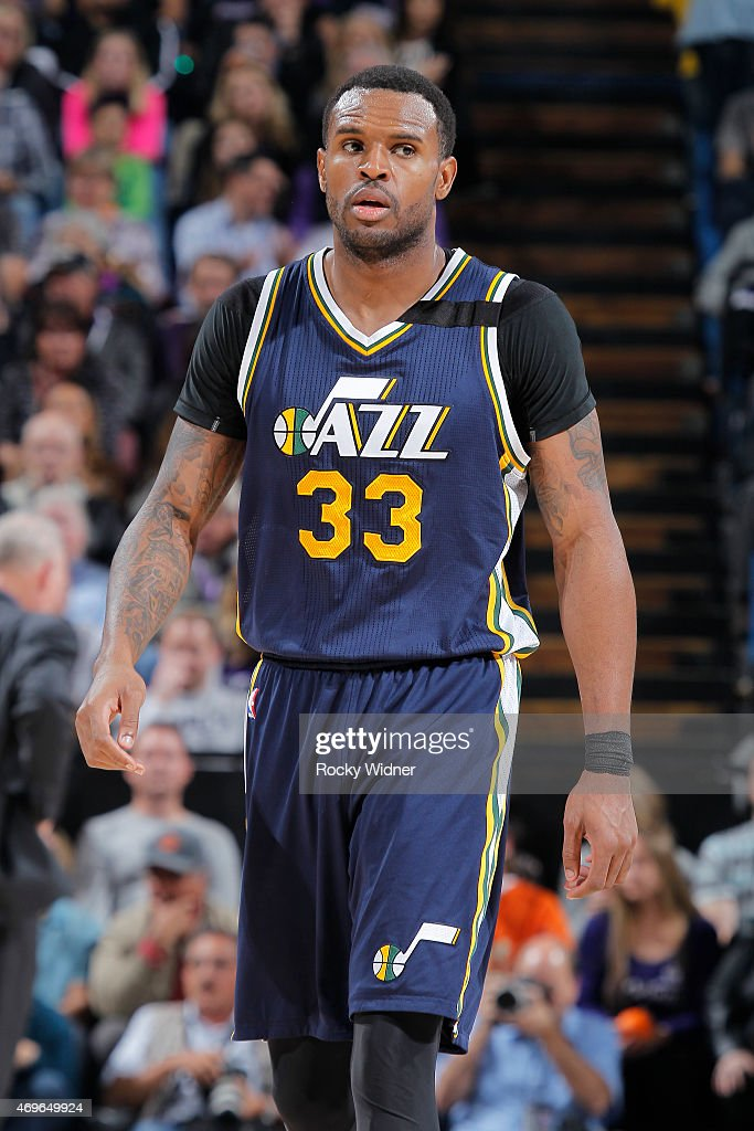 Trevor Booker of the Utah Jazz looks on during the game against the Sacramento Kings on April 5 2015 at Sleep Train Arena in Sacramento California...