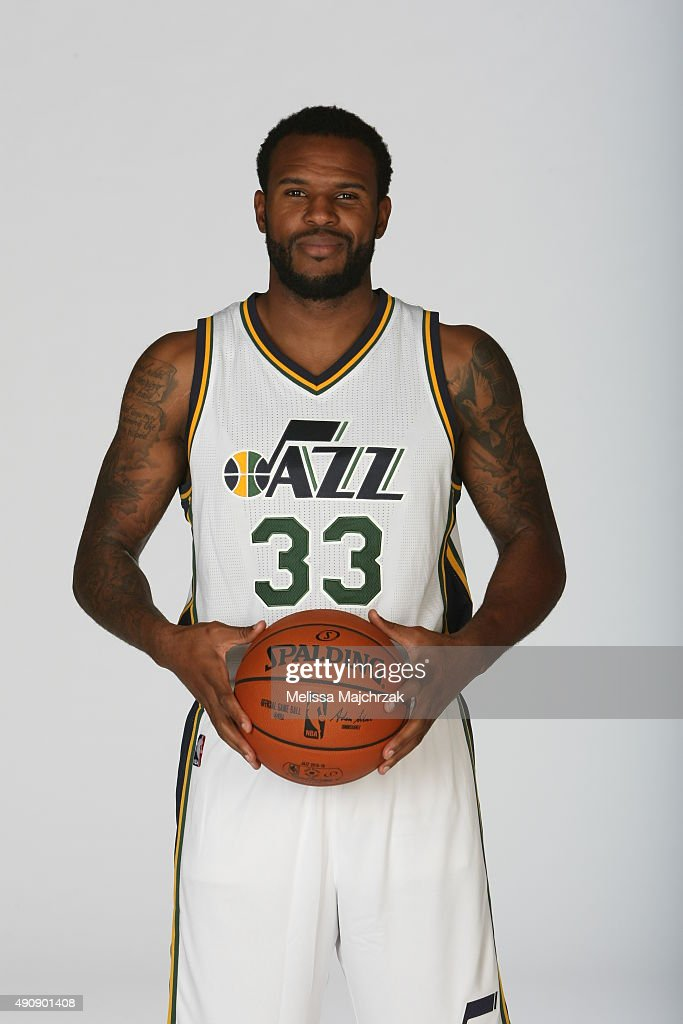 Trevor Booker of the Utah Jazz poses for a photo during Media Day at Zions Basketball Center on September 28 2015 in Salt Lake City Utah NOTE TO USER...