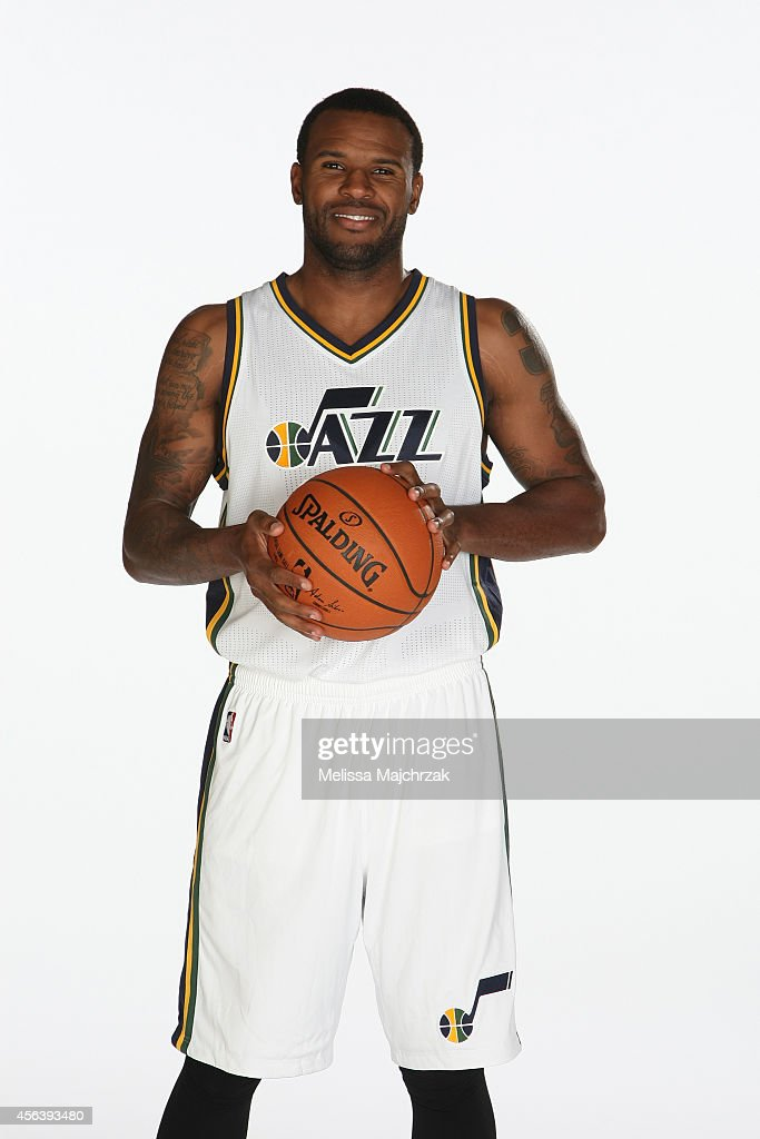 Trevor Booker of the Utah Jazz poses for a photo during the 2014 NBA Jazz Media Day at Zions Basketball Center on September 29 2014 in Salt Lake City...