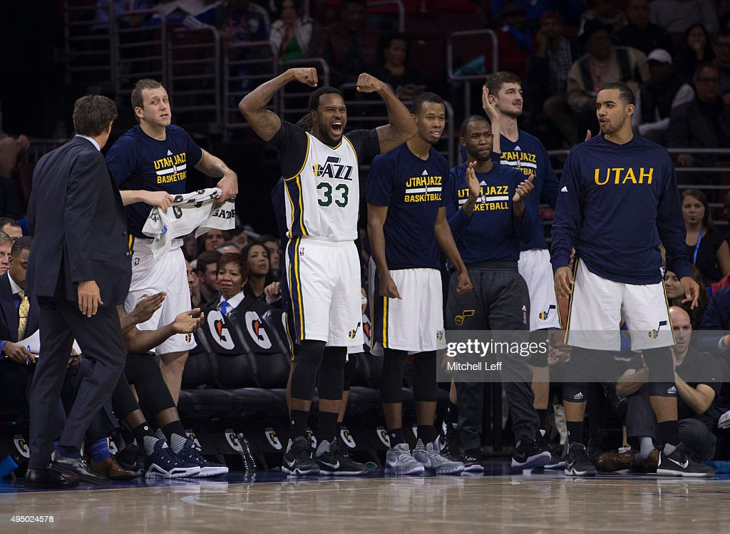 <a gi-track='captionPersonalityLinkClicked' href=/galleries/search?phrase=Trevor+Booker&family=editorial&specificpeople=4123563 ng-click='$event.stopPropagation()'>Trevor Booker</a> #33 of the Utah Jazz reacts along with the rest of the bench after a made basket against the Philadelphia 76ers on October 30, 2015 at the Wells Fargo Center in Philadelphia, Pennsylvania.