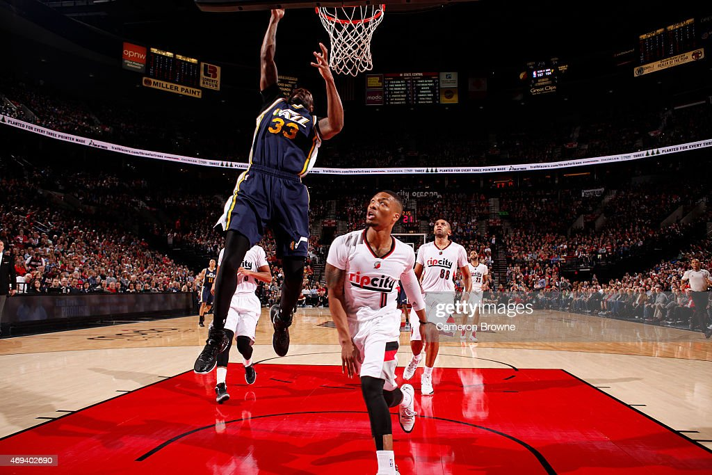 Trevor Booker of the Utah Jazz shoots against on April 11 2015 at the Moda Center Arena in Portland Oregon NOTE TO USER User expressly acknowledges...