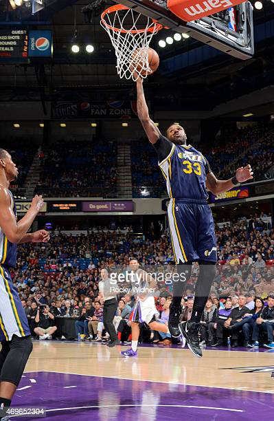 Trevor Booker of the Utah Jazz shoots against the Sacramento Kings on April 5 2015 at Sleep Train Arena in Sacramento California NOTE TO USER User...