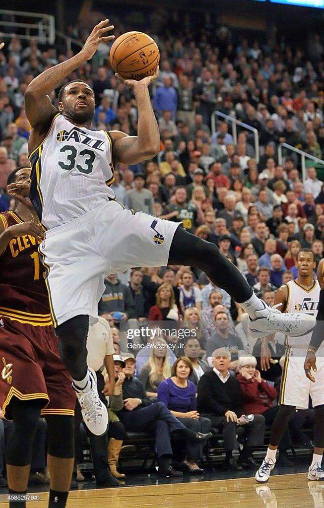 Trevor Booker of the Utah Jazz shoots during their game against the Cleveland Cavaliers at EnergySolutions Arena on November 5 2014 in Salt Lake City...